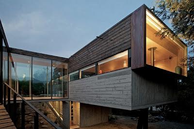 fachada en madera casa de campo