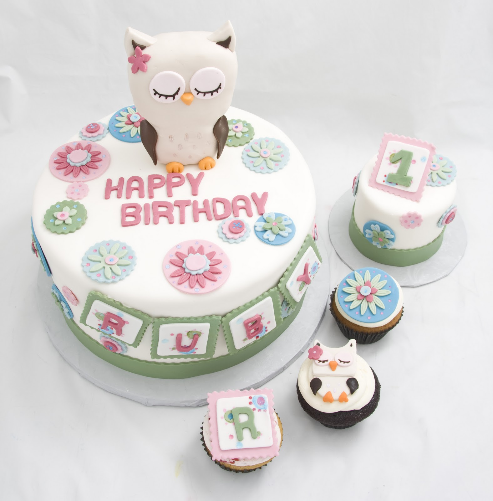 The Crimson Cake Blog Baby Girl Owl Cake and Cupcakes