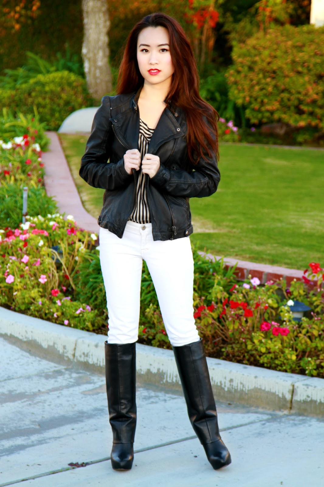 stripes and leather outfit