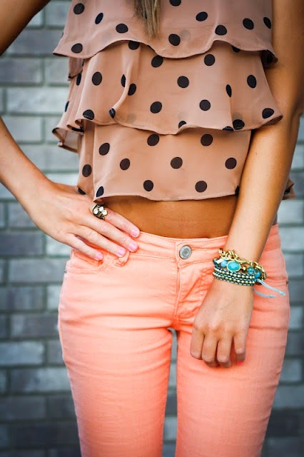 polka dot tiered shirt with peach jeans, and Tiffany blue bracelets. Im in love