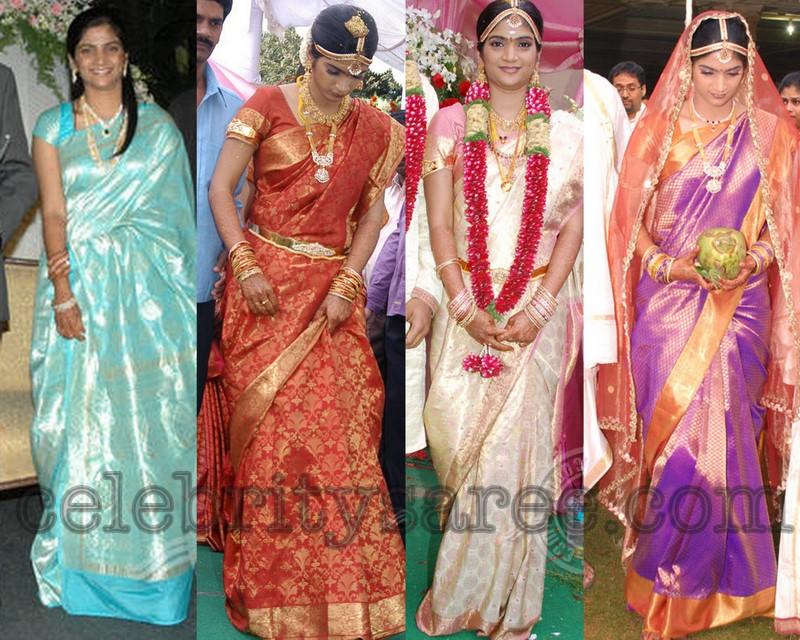 South Indian Bride In Kancheepuram And Banaras Bridal Silk Traditional Sarees With Brocade Work Short Sleeves Designer Blouse