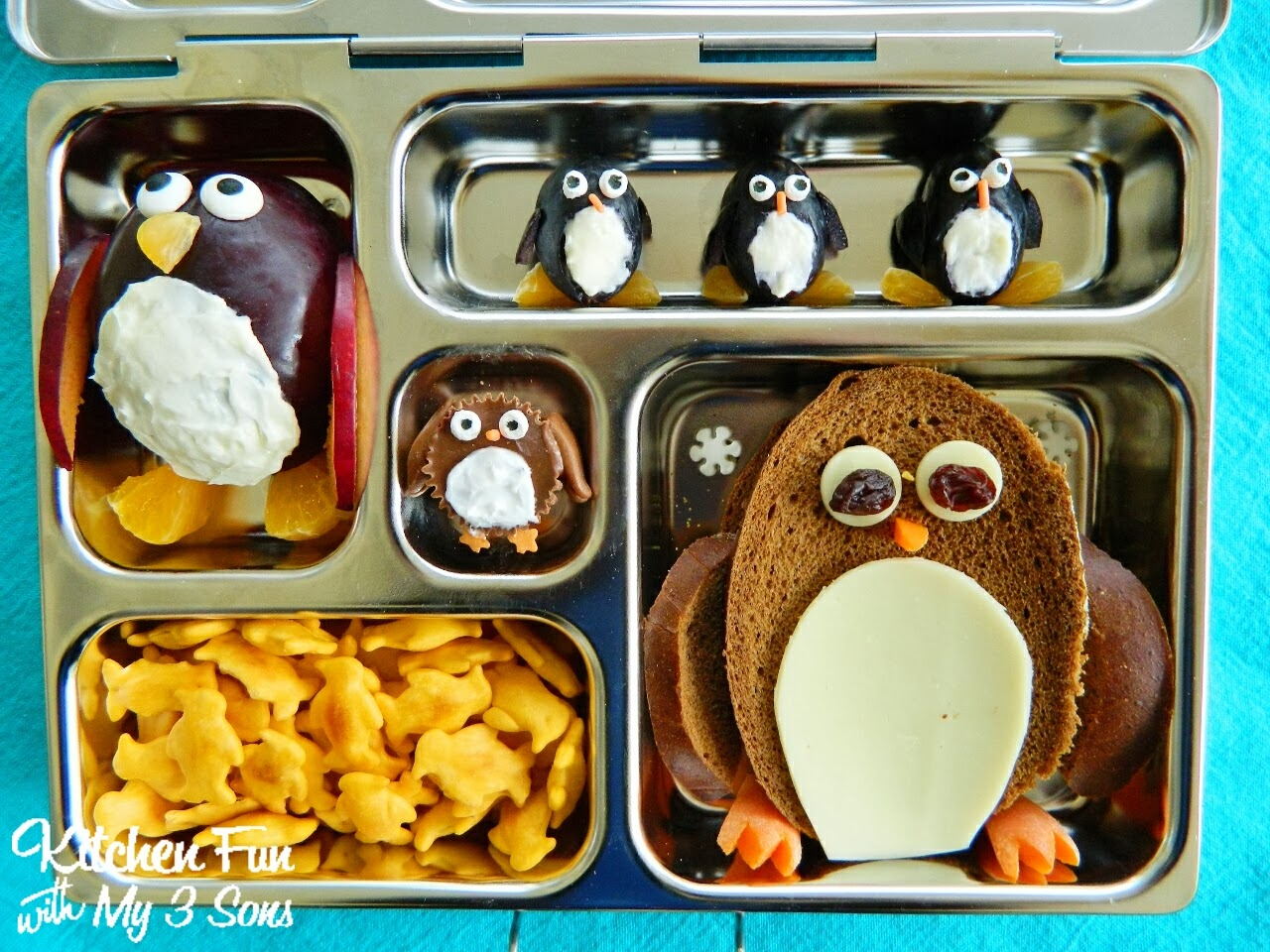penguin bento lunch in a planetbox kitchen fun with my 3 sons. Black Bedroom Furniture Sets. Home Design Ideas