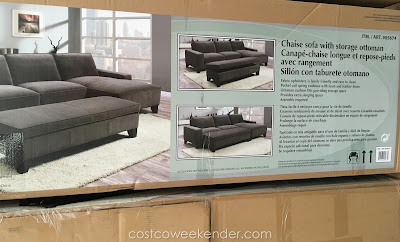 Relax in comfort and style on the Chaise Fabric Sectional with Storage Ottoman
