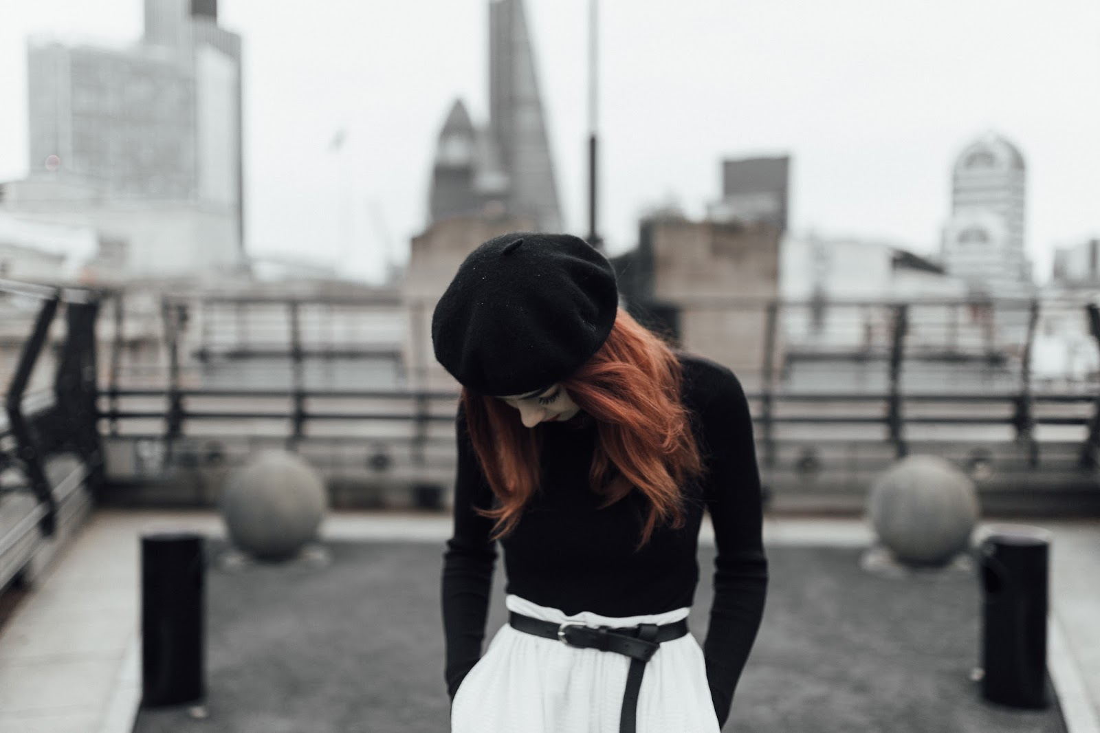black beret white midi skirt