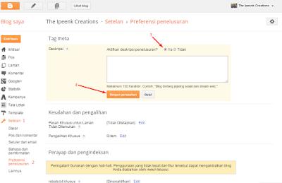 Cara Memasang / Mengaktifkan Meta Descriptions di Blogger
