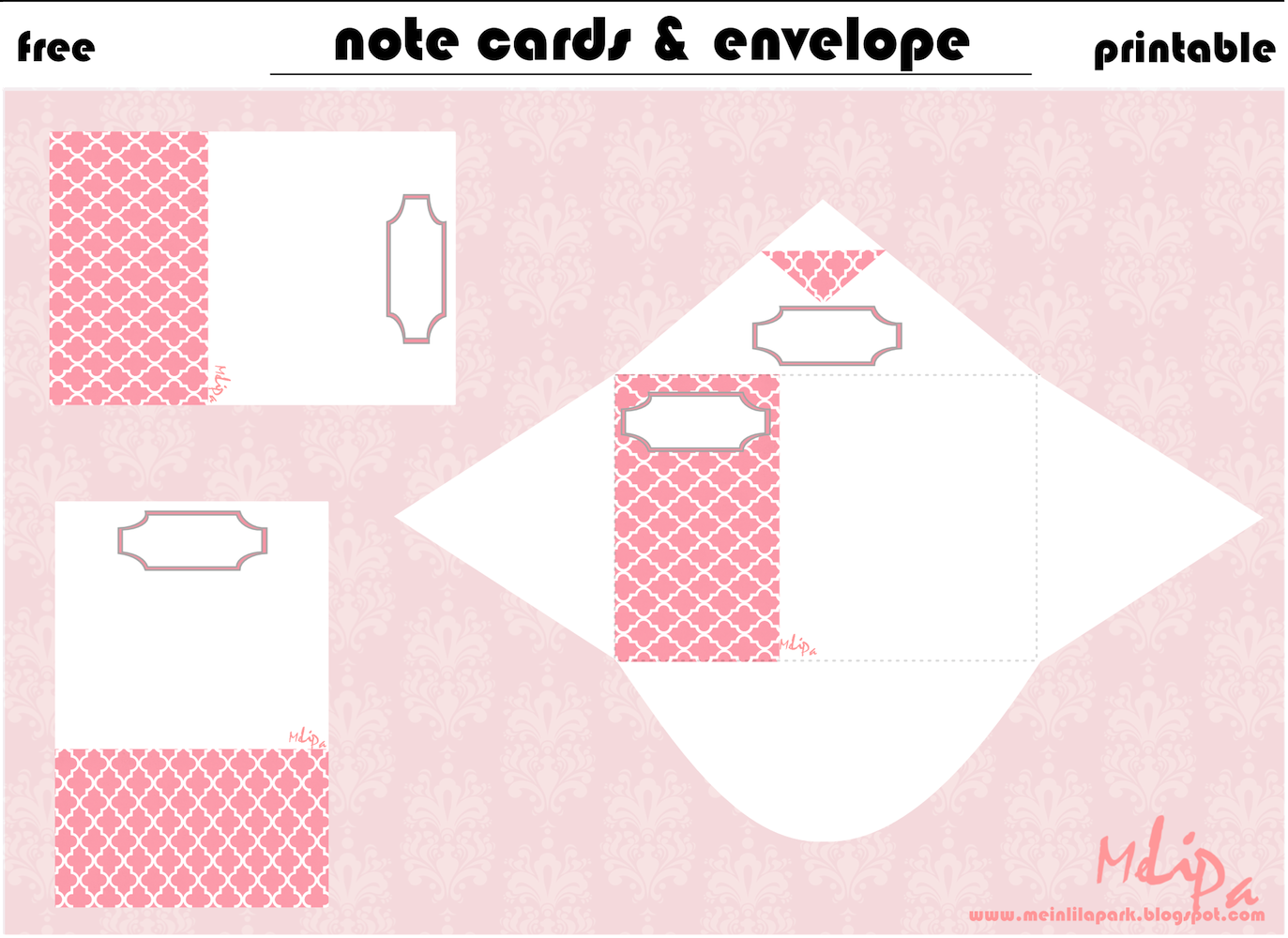 free printable mini note cards with envelope – ausdruckbarer mini ...