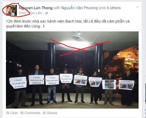 Nhóm cơ hội nhân quyền, dân chủ cuội của Lân Thắng, Trương Dũng... ngay trong đêm Dư mất đã bâu đến nhà xác chụp ảnh, trương biểu ngữ đã đảo CA đánh chết người tù