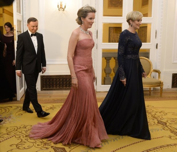 King Philippe of Belgium and Queen Mathilde of Belgium, Polish President Andrzej Duda and First Lady Agata Kornhauser-Duda