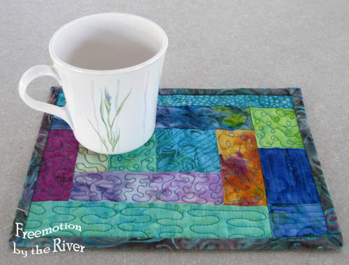 Batik mug rug - Freemotion by the River
