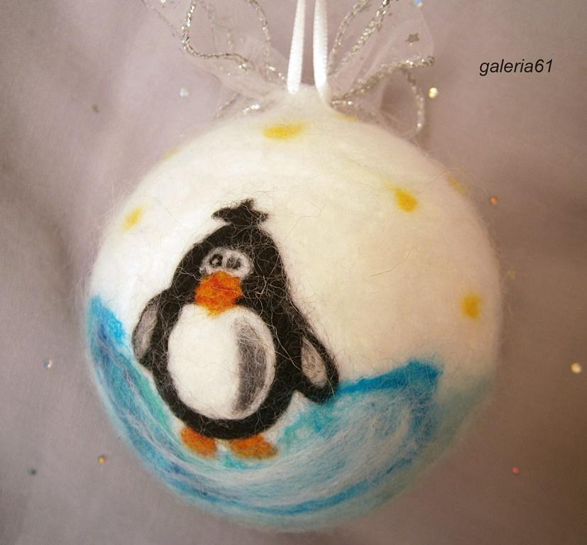 bombka filcowana na sucho - pingwin