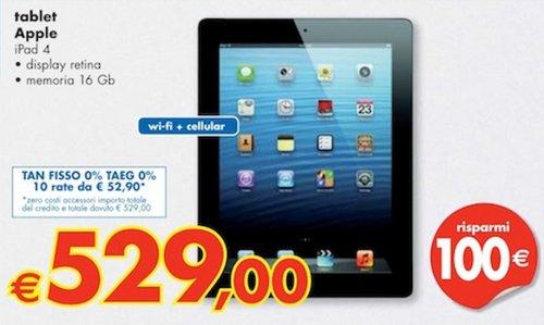 Panorama vende a tasso zero l'iPad 4 e inoltre con 100 euro di sconto