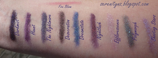 The Nightmare eyeshadow swatches Desecration, Shooting Stars, Nightlash, Haunt, Efflorescence, Polymorph and Dreamstate