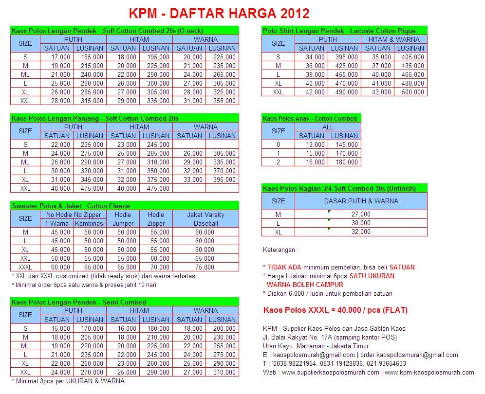 Kpm Kaos Polos Murah Supplier Combed Sablon Size M Cotton 20s Daftar Harga Lengkap Satuan Grosir