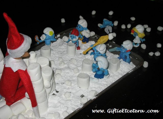 Elf on the Shelf Ideas, smurfs, snowball fight