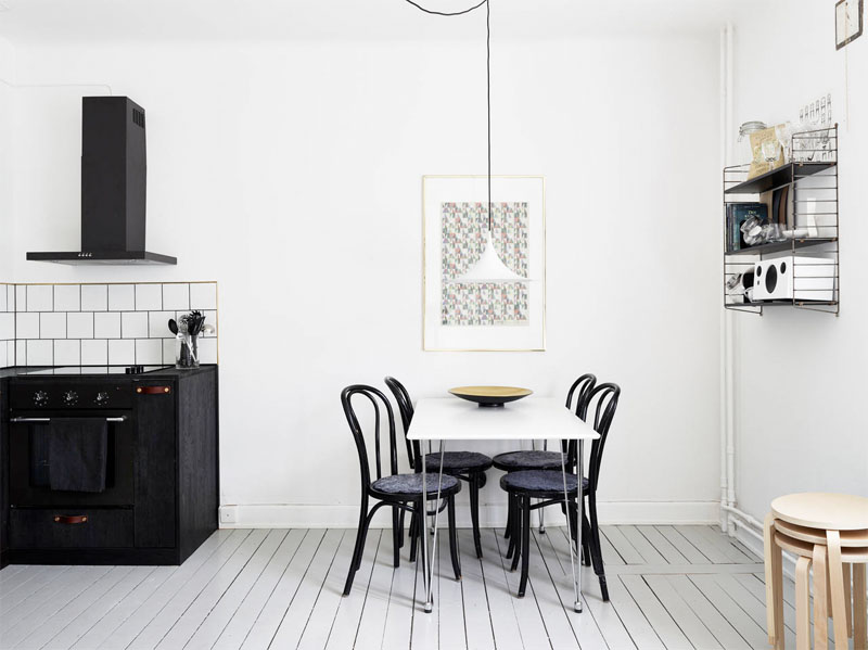 Facing north with gracia weekend special swedish black for Black n white dining rooms
