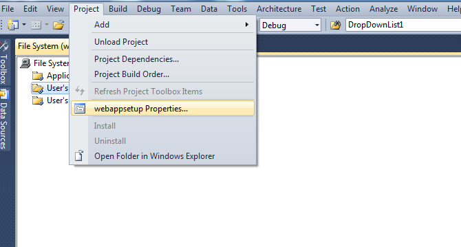 Properties in visual studio
