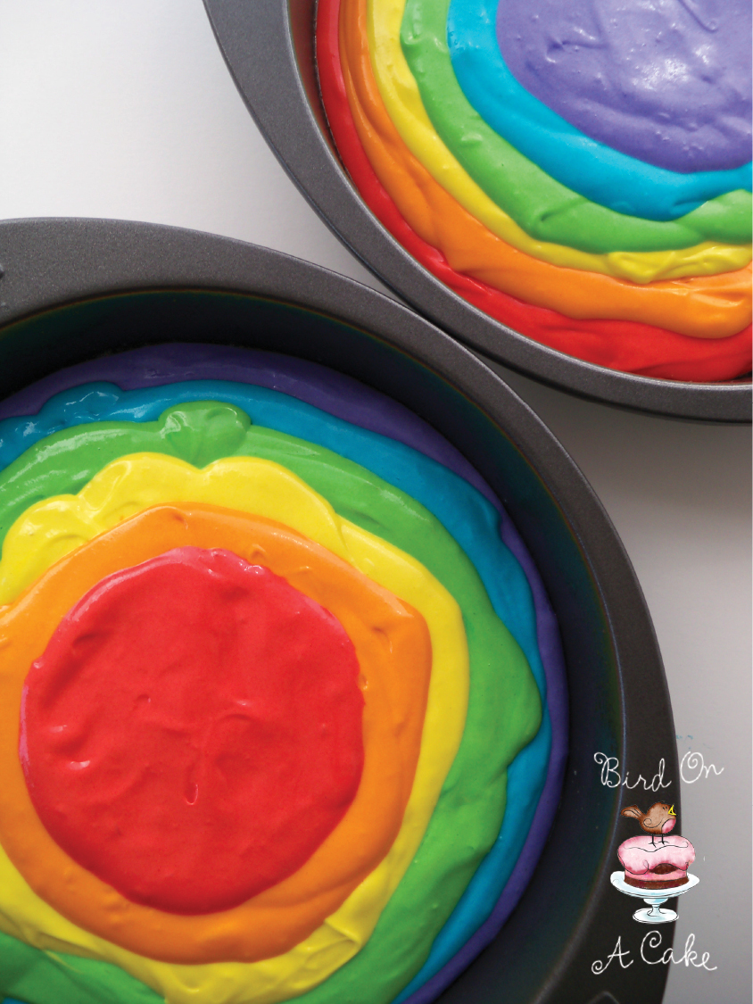 bird on a cake rainbow tie dye cake