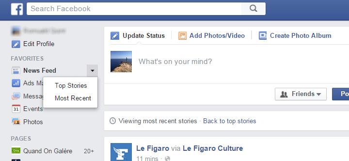 trier son flux facebook