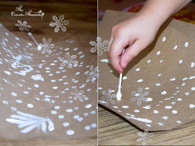 крафт картон и новогодняя гирлянда
