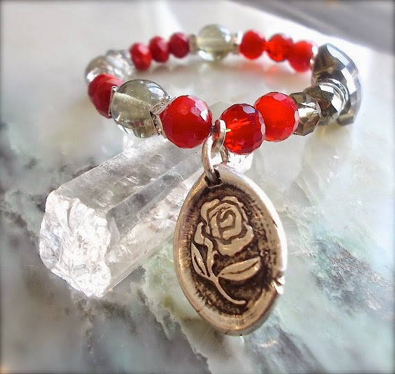 wax seal jewelry, red rose bracelet yourdailyjewels.com