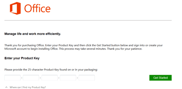 activate office with product key to install