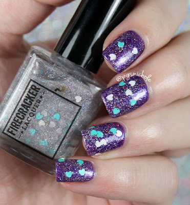 Firecracker Lacquer My Heart Beats for You Holo • over Vio-let Me Down Easy