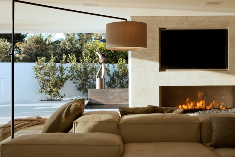 Fireplace in Romantic home above the ocean, California