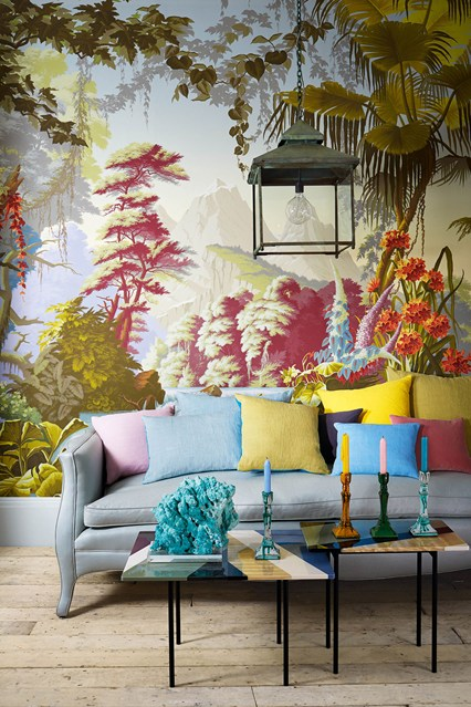 Chinoiserie chic the chinoiserie living room for Chinoiserie wall mural
