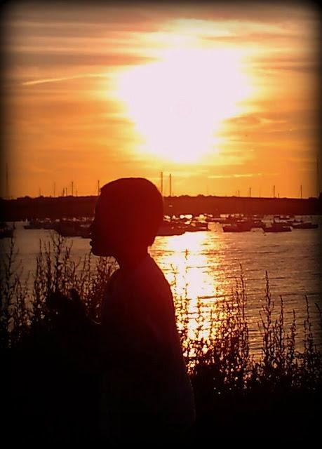 Sunset, Boy, Salem Willows, Massachusetts, orange, silhouette, harbor