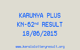 Karunya Plus KN 62 Lottery Result 18-6-2015