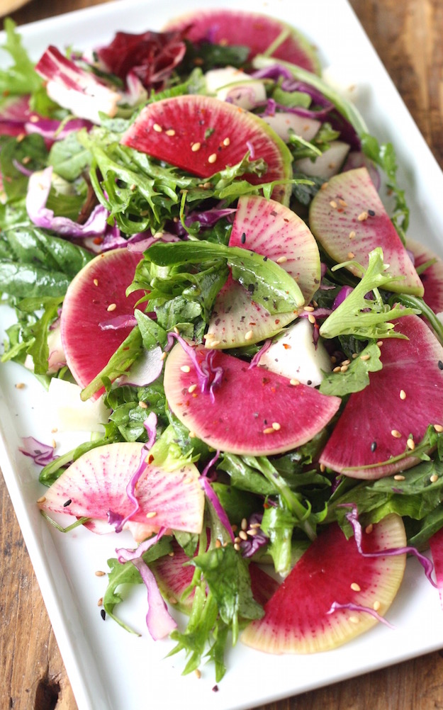 Watermelon Radish Holiday Salad with Asian Citrus Dressing recipe by SeasonWithSpice.com