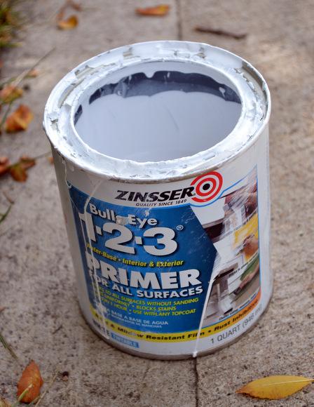 The Zinsser Bullseye Primer is my favorite primer to use on DIY paint jobs.