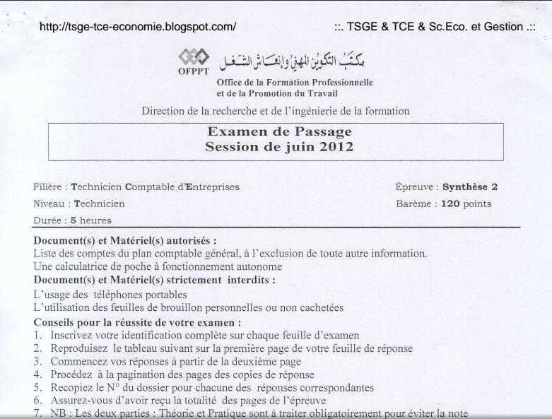Examen de Passage TCE 2012 Synthèse 2 A5
