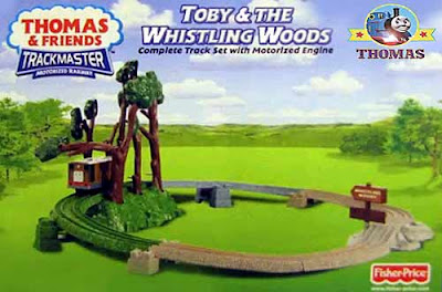 Trackmaster Fisher Price toy whistling Woods ride Toby the tram engine forest train voyage playset