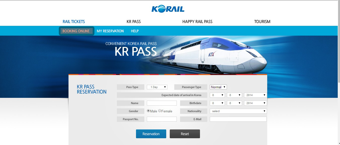 Booking Online system of Korail