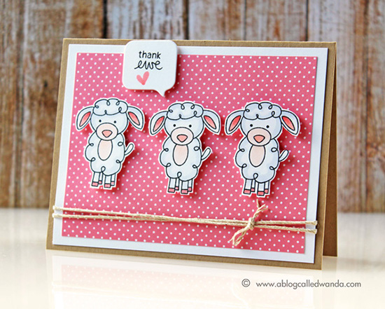 Thank Ewe Card by Wanda Guess | Farmyard Friends Stamp Set by Newton's Nook Designs
