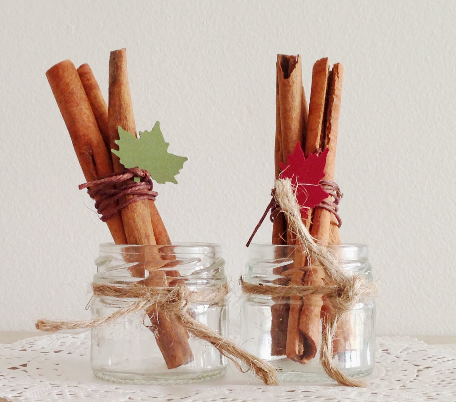 Use These Simple Materials Few Cinnamon Sticks Twines Gl Bottles Punched Or Hand Cut Maple Leaves