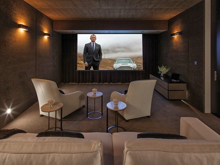Home theater in Perfect modern mansion in Beverly Hills