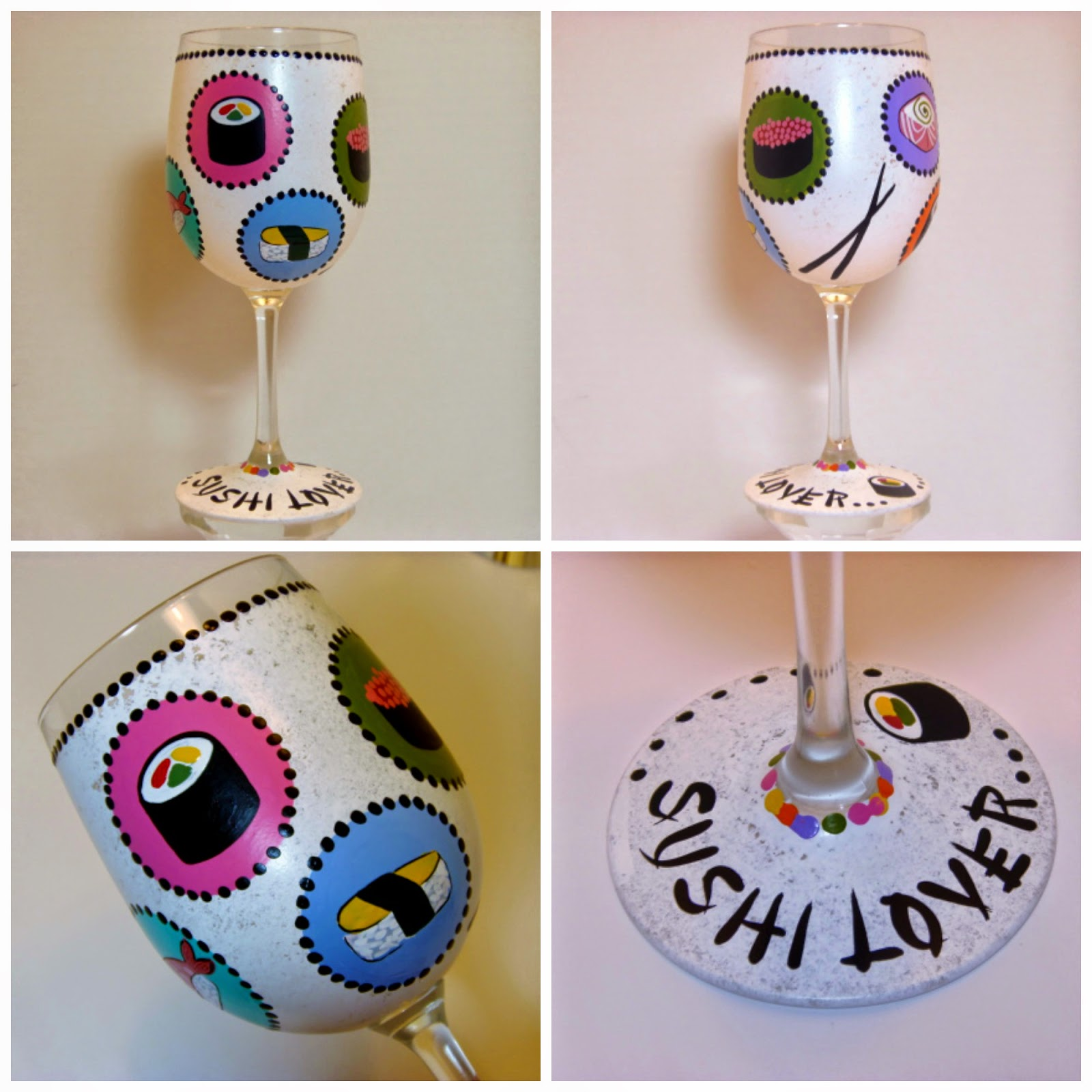Sushi Lovers painted wine glass via kudoskitchenbyrenee.com