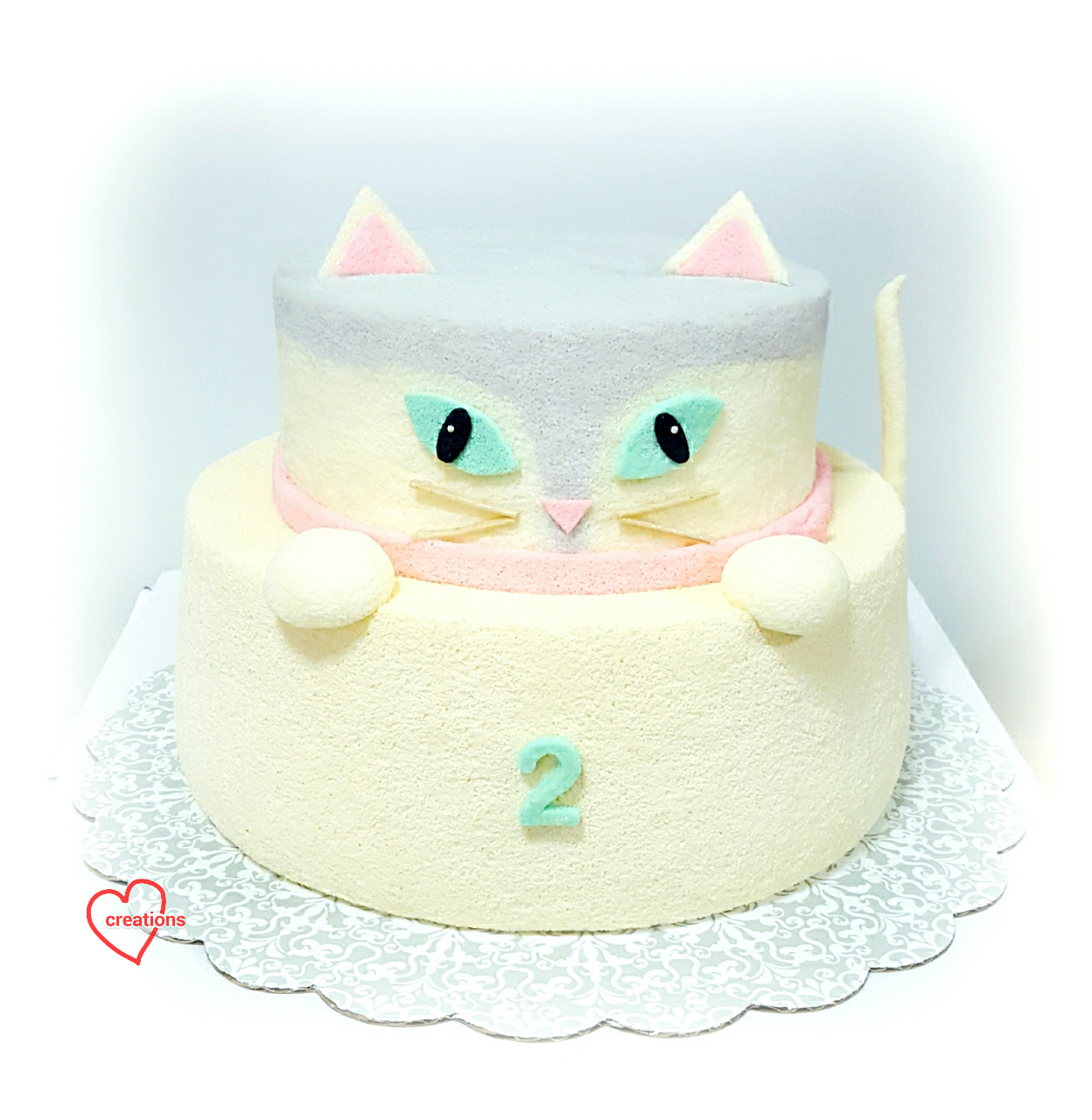 Loving Creations For You 3d Cat 2 Tier Lemon Chiffon Cake Reduced