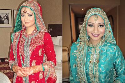dengan baju pengantin dari india baju sari yang di penuhi payet ini