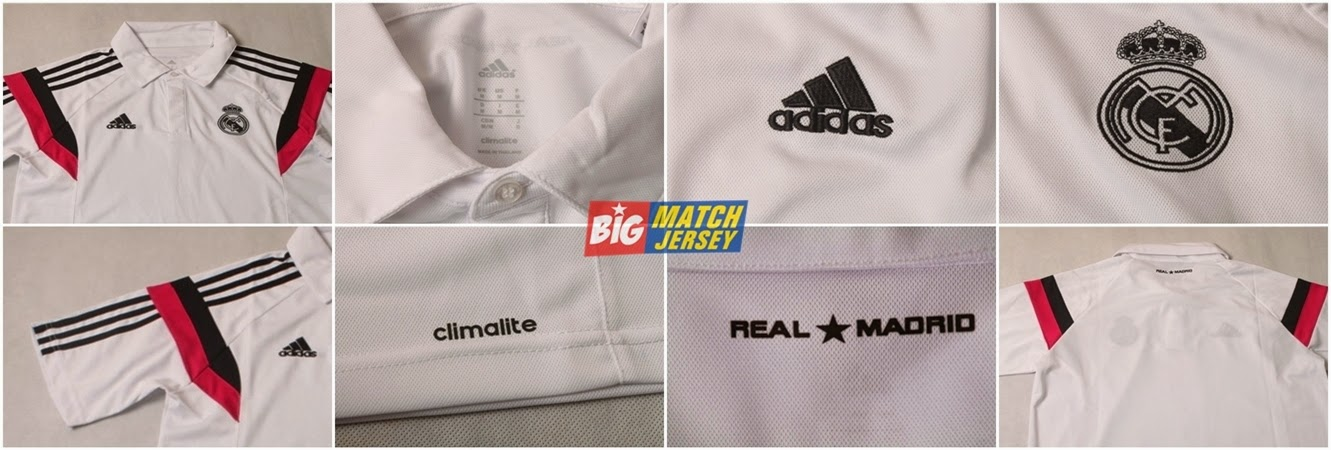 Detail Baju Polo Real Madrid Training Grade Original Musim 2014 - 2015