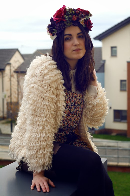 floral crown, flower headwear, rose crown, flower crown, berry, rose, fluffy cardigan, shaggy cardigan, hippy, hippie, uk fashion, uk style, ootd, floral playsuit, floral jumpsuit, cut out boots, buckle boots