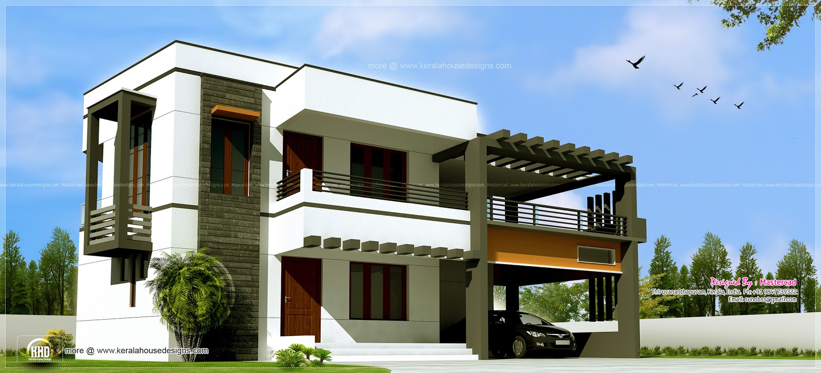 3012 contemporary house home kerala plans for Home design 84 square metres