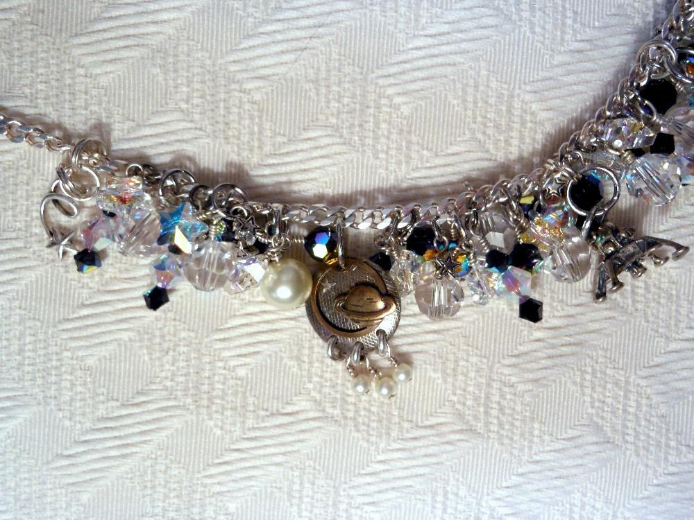 Astronomy necklace, silver alien skull, ray gun, NASA, space and Swarovski