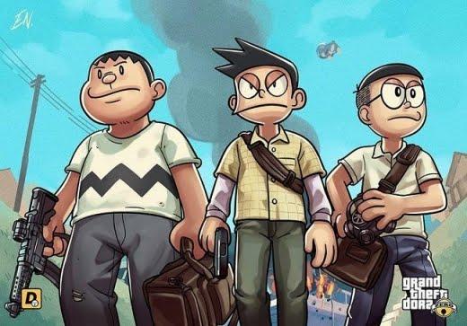 Beginilah Jadinya Kalau Semua Tokoh Anime Doraemon Masuk Dalam Dunia
