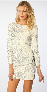 Motel Gabby Sequin Back Dress (White)