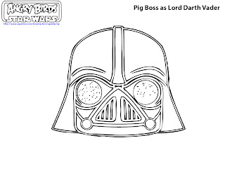 free printable angry birds Star wars coloring pages - Pig boss as Darth Vader