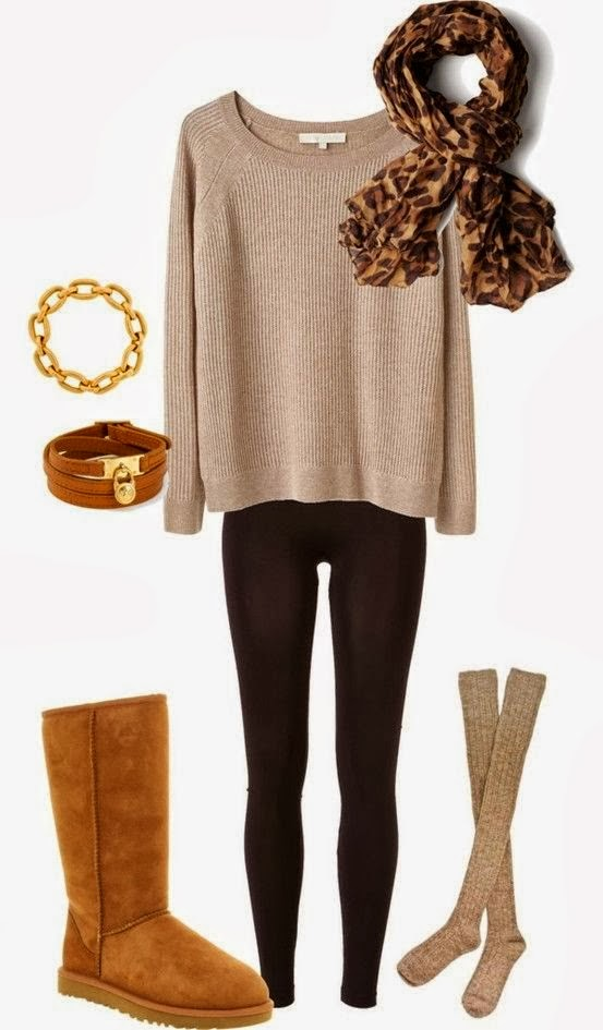 Light brown sweater, cheetah scarf, pants and warm boots for winter and fall