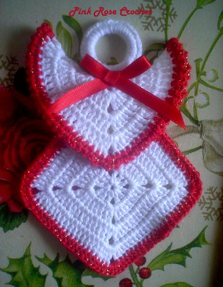 PINK ROSE CROCHET /: Anjo Squares - Crochê Enfeite de Natal